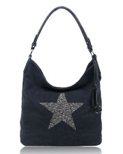 New Womens Casual Canvas Large Shoulder Tote Bag With Sparkling Rhinestones Star