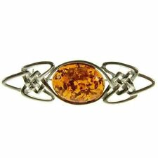 Amber Sterling Silver Fine Brooches & Pins