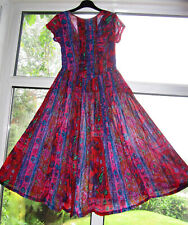 MONSOON Vintage INDIAN Crinkle Vibrant COTTON Hippie Boho DRESS UK 12