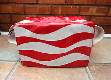 VINTAGE RETRO 1960s ITALIAN RENCO MARWELL RED & WHITE STRIPED PVC COOLER BAG VW