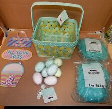"Easter Mix Lot 5 Items Sign 8"" Wood Basket Blue Plastic Grass Glitter Eggs 164P"