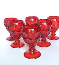 (7) Vintage Red  Water Goblets