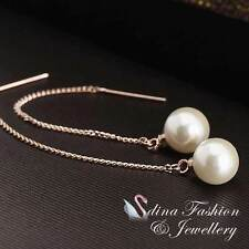 18K Rose Gold Plated Simulated Pearl Stylish Ear Line Earrings Jewellery