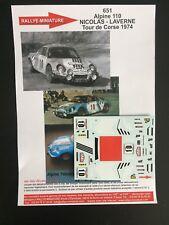 DECALS 1/43 ALPINE RENAULT A110 NICOLAS TOUR DE CORSE 1974 RALLYE RALLY WRC