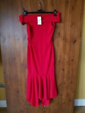 RRP £50 - QUIZ MAXI DRESS Red Peplum Hem Bardot Fishtail Cocktail Cruise 14 NEW