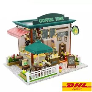 DIY Dollhouse Coffee Shop Coffee Time With Cover Miniature Handicraft