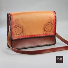 Vintage 80s Tooled Floral Leather Handbag Shoulder Bag Unused