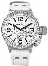 Nuevo Tw Steel TW10 Reloj con Cronógrafo 45 mm de Cuero Blanco