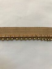 ATTRACTIVE ETHNIC INDIAN SMALL ROSE GOLD BEADED RIBBON LACE TRIM - SOLD by METRE