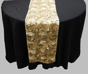 Rosette Satin Table Runner Ribbon 3D Rose Spiral Wedding Party Table decoration