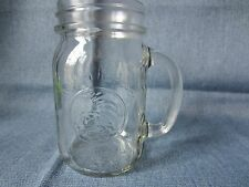 Vintage Clear Golden Harvest Drinking Jar Glass with Handle Mason Anchor