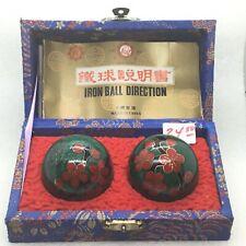 Vintage Chinese Iron Direction Balls Cloisonne Enamel Bird Dogwood Flower Stress
