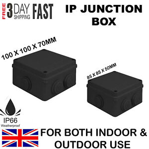 WATERPROOF JUNCTION BOX ENCLOSURE IP65 BLACK FOR OUTDOOR ELECTRICAL PROTECTION