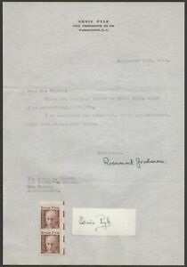 Journalist Ernest Taylor Pyle letter with autograph, stationery, US 1971 Sc 1398