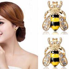 1 Pair Honey Bee Ear Stud Gold Plated Cute Enamel Crystal Style Earrings Jewely