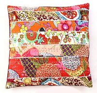 """Patchwork Kantha 16"""" Pillow Cushion Cover Cotton Embroidered Throw INDIAN PILLOW"""