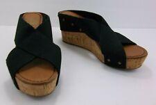 Crown Vintage Anthropologie Delight Black Fabric Cork Slide Wedge Sandals 6.5 W