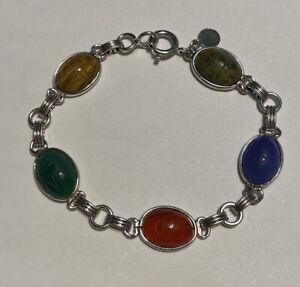 """CANDIDA Sterling Silver Scarab Bracelet 7.25"""""""