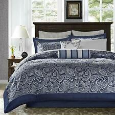 Madison Park Aubrey King Size Bed Comforter Set Bed In A Bag - Navy Grey Pai.
