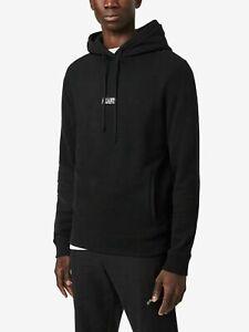 All Saints Mens Black State OTH Hoodie Designer Overhead Hooded Sweatshirt Hoody