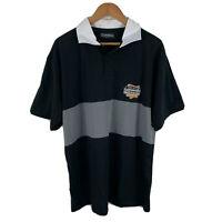 Guinness Mens Polo Shirt Size 2XL Black Grey Colourblock Short Sleeve Collared