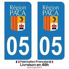 2 STICKERS AUTOCOLLANT PLAQUE IMMATRICULATION DEPT 05 Provence-Alpes-Côte d'Azur