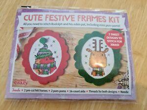 Cross Stitch Christmas Festive Frames Kit 2 felt frames Robin Rudolph
