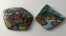 Vintage Handpainted Picture Outdoor Scene Ceramic Pottery Buttons Artisan Signed