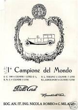 PUBBLICITA' 1927 AUTO ALFA ROMEO CAMPIONE DEL MONDO  TURISMO SUPER SPORT