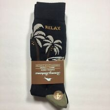 TOMMY BAHAMA Men's Socks Relax Crab/Palm Trees/Car (4 Pack) Black One Size NWT