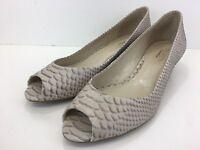 Talbots Women's Snake Print Tan Leather Peep Toe Wedges Size 11 B
