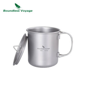 Titanium Coffee Cup with Lid Outdoor Camping Ultralight Water Tea Mug 450/200ML
