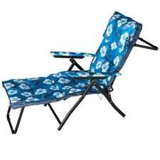 Sedia Sdraio Imbottita Reclinabile Poltrona Relax con poggiapiedi Fiori Blu