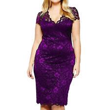 Plus Size XL-5XL Women Dress V Neck Cap Sleeve Floral Lace Evening Party Dress