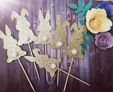 Easter Bunny Gold Glitter Cake 6 x Cupcake Stick Topper New Party Decoration