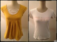 COLLINE/ESPRIT lot de 2 tee shirts femme taille 38 moutarde & blanc
