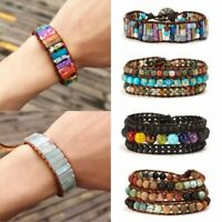 7 Chakra Natural Stone Tube Beads Bracelet Handmade Leather Wrap Bangle US Stock