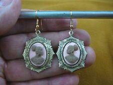CAE1-24) RARE African American LADY brown + pink CAMEO dangle Earrings JEWELRY