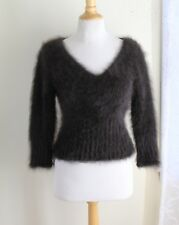 THE BEST!!! Express -80% Angora Bombshell Fuzzy Furry V-Neck Sweater Sz M