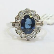 18ct White Gold Oval Cut Blue Sapphire and Diamond Cluster Halo Ring. (VIDEO)