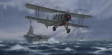 Royal Navy Fleet Air Arm print Flight Against Bismarck signed 3 Swordfish pilots