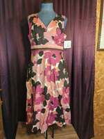 NEW Croft & Barrow Pink/Brown Floral Sleeveless Dress Women 8 NWT Closet127*