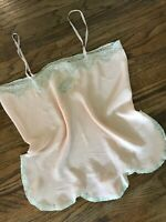 Vtg Eastern Isles 40s 50s Peach Chiffon Lace Sheer Negligee Romper Plus 2-3XL