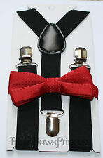 Kids Boys Baby black Suspenders red bow tie 6months-5T Ring bearer Christmas