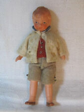 Vintage bisque jointed boy dollhouse doll, original outfit