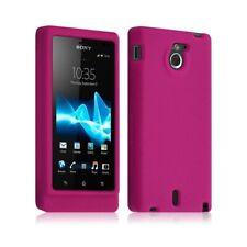 Housse coque étui silicone pour Sony Xperia Sola couleur rose fushia