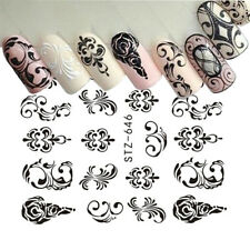 Nail Art Water Decals Stickers Transfers BLACK Flowers Jewels Lace Floral (646)