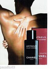 PUBLICITE ADVERTISING 116  1988  Chanel  ligne eau toilette homme Antaeus