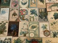 Nice~Lot of~25~FORGET-ME-NOTS~FLOWERS~Vintage~Greeting~Postcards-in Sleeves-a578