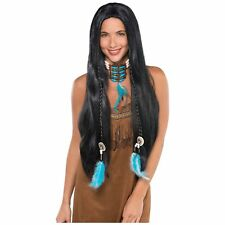 Native American Wig Red Indian Pocahontas Princess Womens Fancy Dress Costume